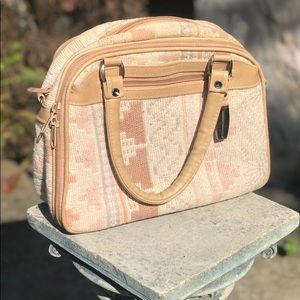 Vintage tan fabric purse with leather straps